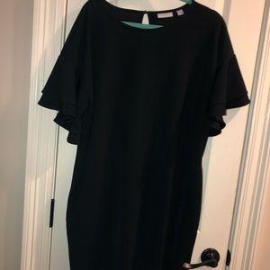 Black shift dress with flutter sleeves